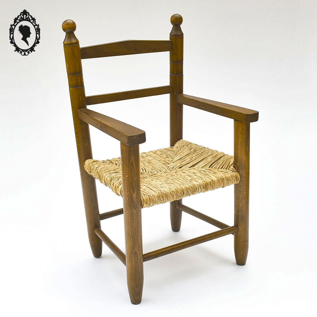 fauteuil enfant bois et paille rustique vintage ancien