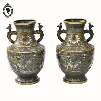 Objet de collection, émaux, émaux cloisonnés, émail cloisonné, objet asiatique, accessoire asiatique, objet de collection, asiatique, objet de décoration, objet de vitrine, objet de vitrine asiatique, vase, vase ancien, vase émail, vase coloré, vase vintage, vase asiatique, vase collection, vase coloré, cadeau, idée cadeau, idée cadeau chic, idée cadeau maman, idée cadeau élégant, idée cadeau original, idée cadeau collection, objet rouge, décoration fleuri, vase fleuri, laiton, pot vintage, cadeau des grands-mères, idée grand-mère, idée cadeau grand-mère, objet de vitrine, objet collection vitrine, objet de collection, objet de qualité, objet qualitatif, paire de vases, paire de vases anciens, paire de vases anciens asiatiques, vase XVIIIème, vase 19ème , Vase 1850, vase collection, vase collection 1850, vase asiatique 1850, vase asiatique ancien,