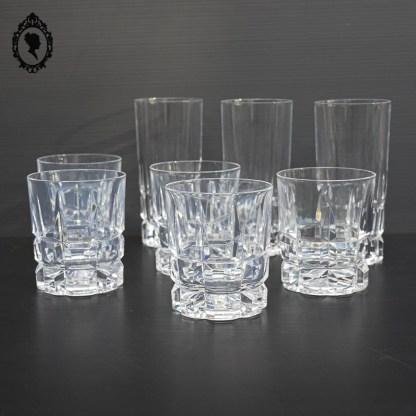 Verre, verres, lot de verre, verre whisky, verre cristal, verre orangeade, verre eau cristal, verre whisky cristal, verre ancien, service de verre, verre à eau, verre à digestif, lot verres ancien, service verres ancien, verres vintage, verre apéritif vintage, verre ciselé, verre motif rectangulaire,