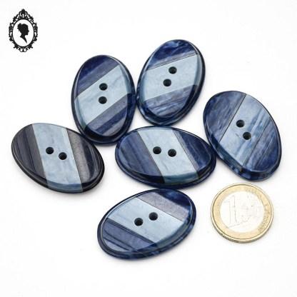 Lot boutons, 6 boutons, bouton vintage, bouton ancien, lot bouton vintage, bouton ovale, bouton bleu, gros bouton vintage, bouton vintage ovale, gros boutons ovales, boutons 3,8 cm, bouton épais, boutons originaux, lot boutons bleu marine, bouton bleu foncé,