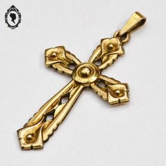 Croix, croix pendentif, croix dorée, croix plaquée or, croix vintage, objet religieux, objet religieux ancien, croix Fix, grande croix pendentif, crois ajourée, croix ciselée, bijoux vintage, bijou religieux, bijou croix, croix bijou, bijoux Fix,