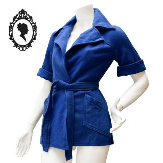 Veste, veste laine, veste bleue, veste vintage, veste ceinturé, veste bleue mi longue, veste bleue vintage, veste 36, veste bleue 36, veste S, Veste S vintage, veste 36 vintage, vêtement vintage, vintage Weill, Weill, veste Weill, laine Weill, veste manche courte,