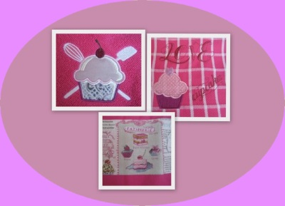 détail broderie torchons cupcake