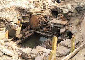 Inside the bronze age sauna at the Links of Noltland, Westray.