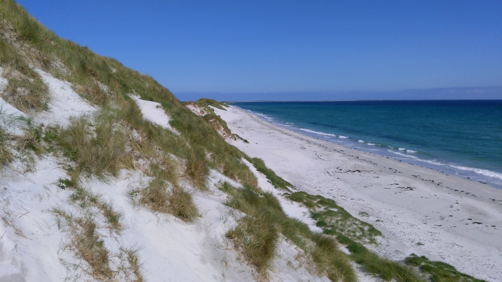 Sand dunes at Catasands, island of Sanday.