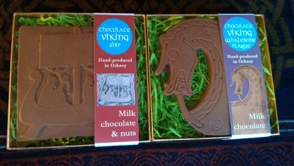 Milk chocolate and nuts Viking Ship, milk chocolate Viking Whalebone Plaque head