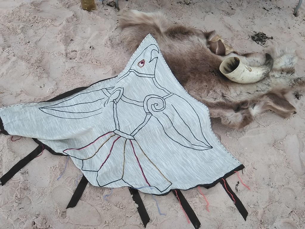 Thorfinn the Mighty Raven Banner storytelling prop, Orkney Time Travel