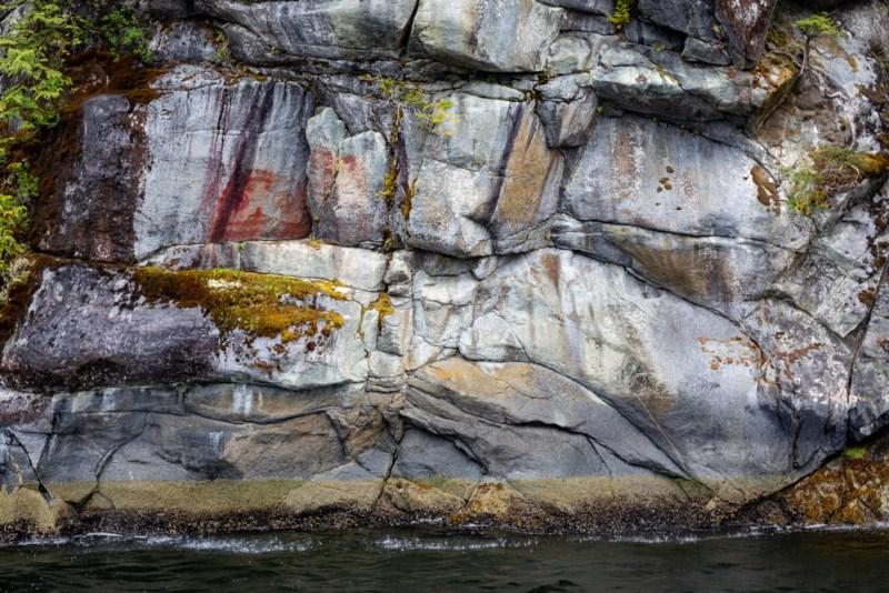 Ancestral Haíɫzaqv (Heiltsuk) pictograph, Ellerslie-Roscoe Conservancy, central coast British Columbia, Canada