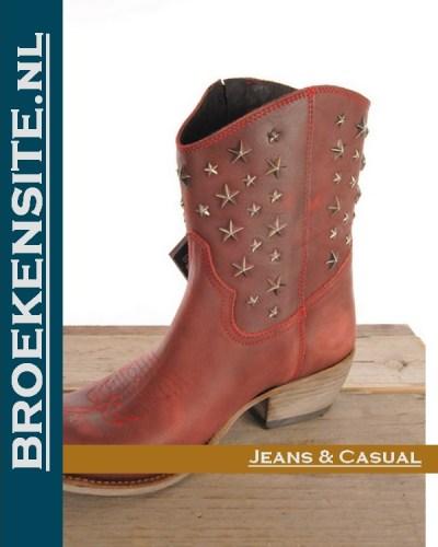 Sancho boots kort rood 10620-RO Broekensite jeans casual