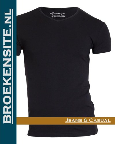 Garage T-shirt Bodyfit V-hals zwart G 0202-ZW Broekensite jeans casual