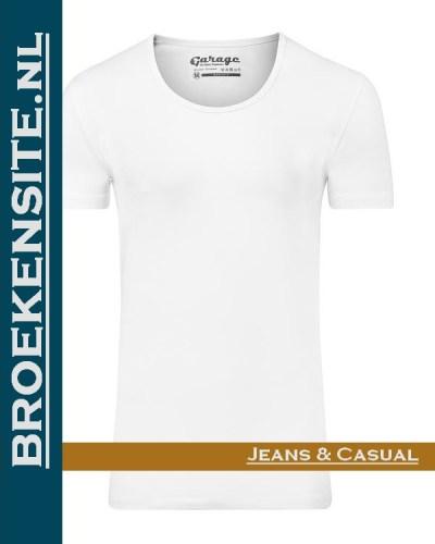 Garage T-shirt Bodyfit diepe ronde hals wit G 0205-WT Broekensite jeans casual