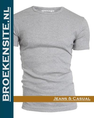 Garage T-shirt Bodyfit ronde hals grijs G 0201-GR Broekensite jeans casual