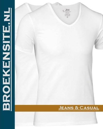 Bamboo t-shirt JBS wit v-hals (2-pack) Broekensite