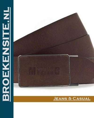 Mustang riem bruin met logo Broekensite