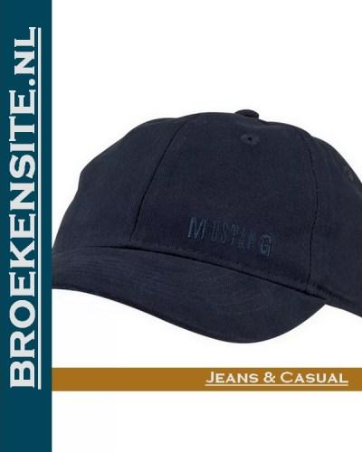 Cap blauw donkerblauw jeans Caps geborduurd logo Mustang petten pet baseballcap Broekensite