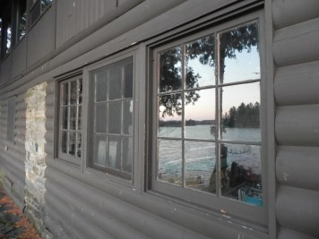Blackstone Lake Cottage Renovation Existing Window Reflection