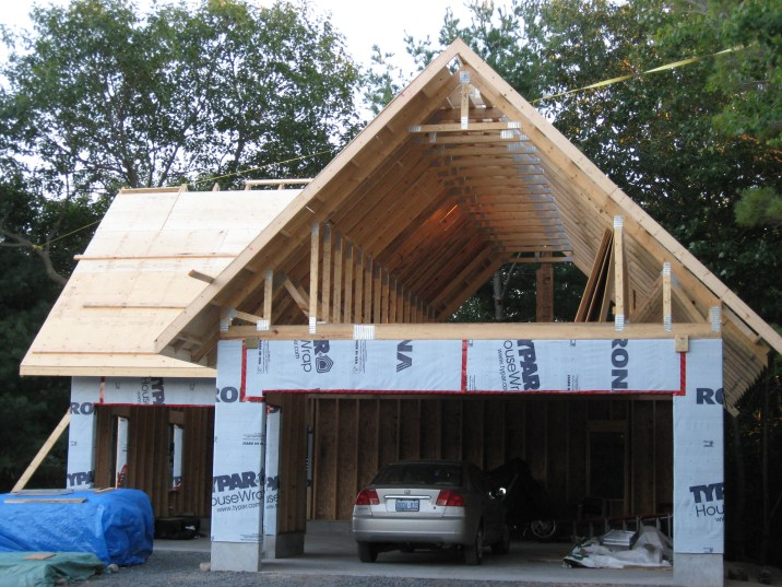 Partridge Bay Garage During Construction Front Framing