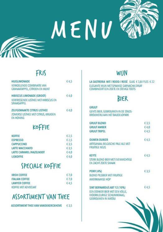 Voorkant menu Broesse kaffee
