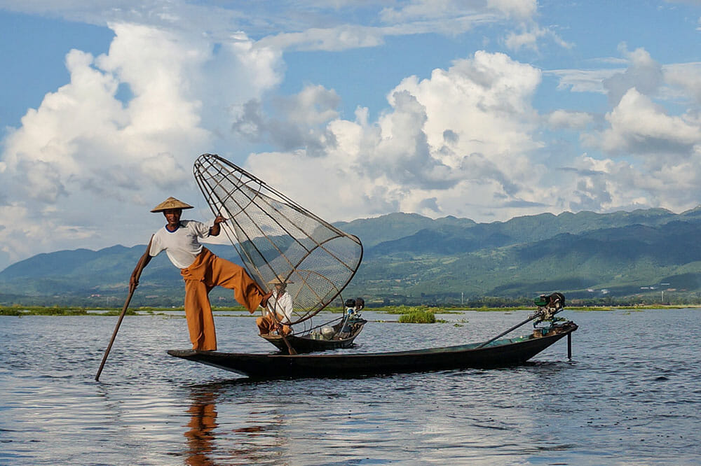 Inle Lake Fisherman Myanmar Burma