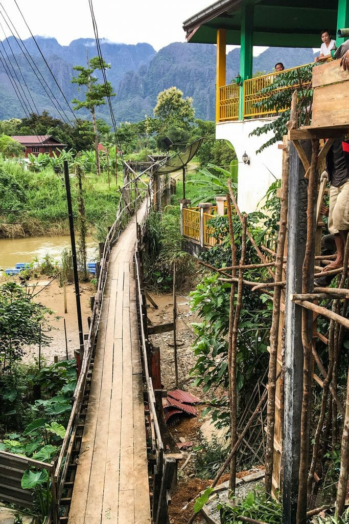 Vang Vieng wooden bridge Laos