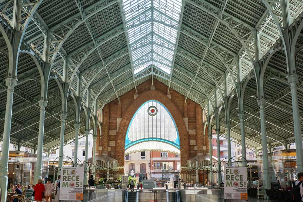 Interior of the Colon Market with steel arches in Valencia - Things to do in Valencia