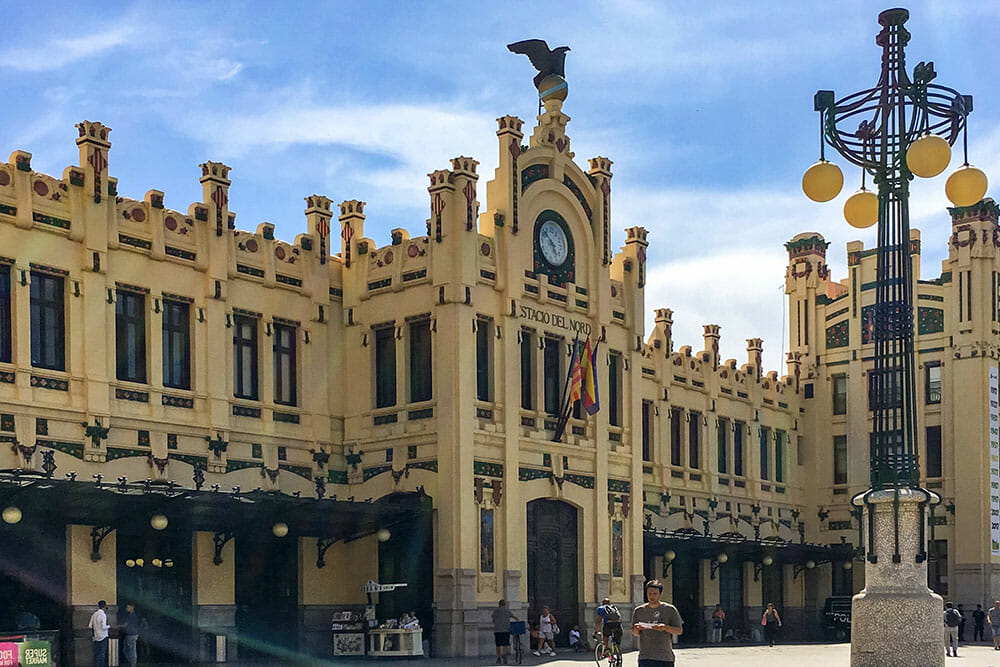 Exterior of the modernist North Railway Station in Valencia - Things to do in Valencia, Spain