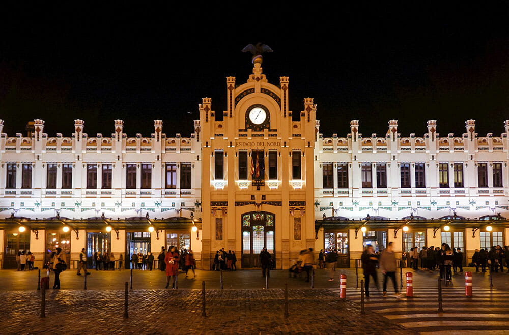 Modernist façade of the North Railway Station in Valencia at night - Things to do in Valencia, Spain