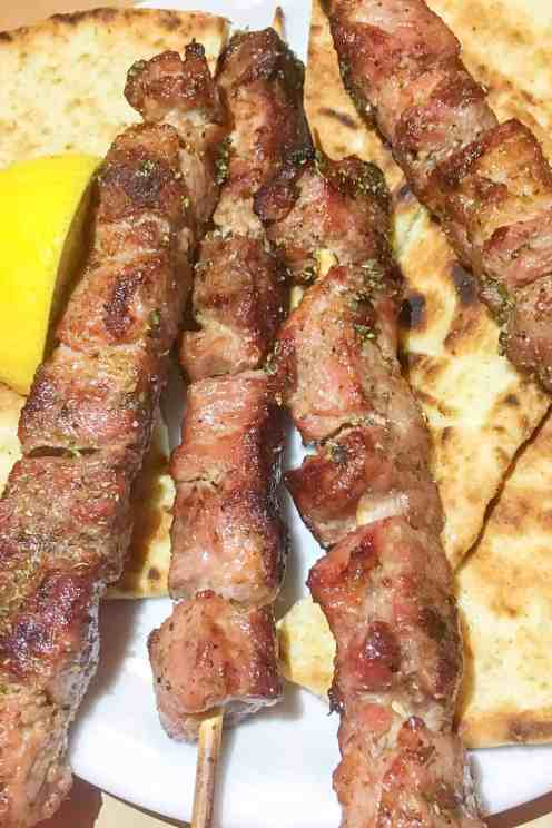 souvlaki with pita bread syros greece