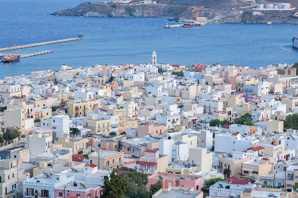 View of Ermoupoli syros greece