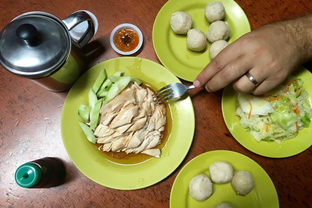 Chicken and Rice Balls in Malacca Malaysia
