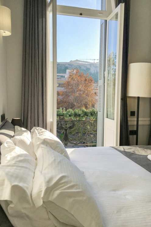 View of the Acropolies from the bed at The Zillers Boutique Hotel Athens