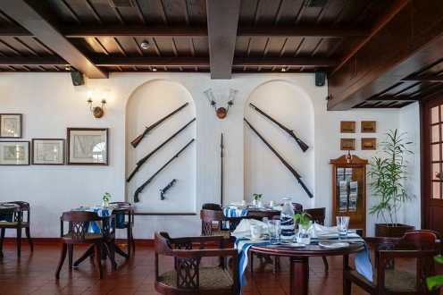 The interior of the Armoury Cafe at the Brunton Boatyard Hotel in Kochi