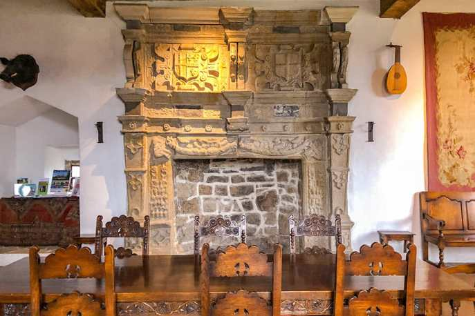 The Jacobean stone fireplace at Donegal Castle