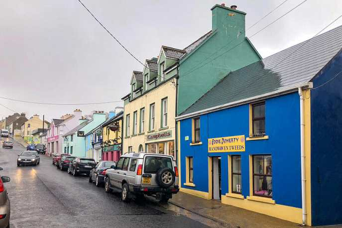 The street where Eddie Doherty Tweed shop is in Ardara, Donegal