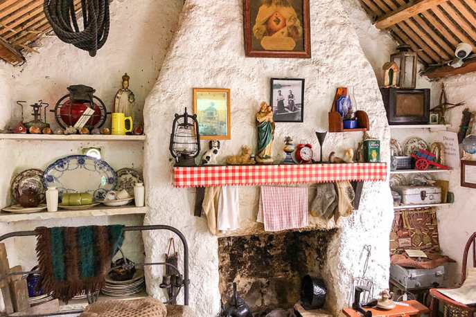 The interior of one of the cottages at the Glencolmcille Folk Village museum