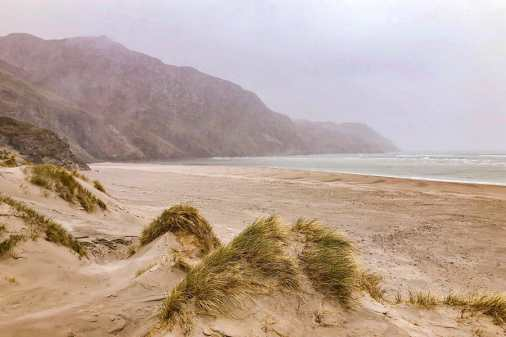Sand dunes at Maghera Strand with poor visibility