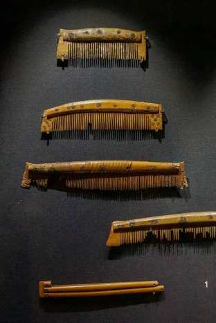 Four Viking combs and one hairpin made of bone