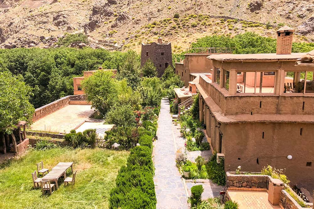 View of the rich green courtyard garden within the Kasbah