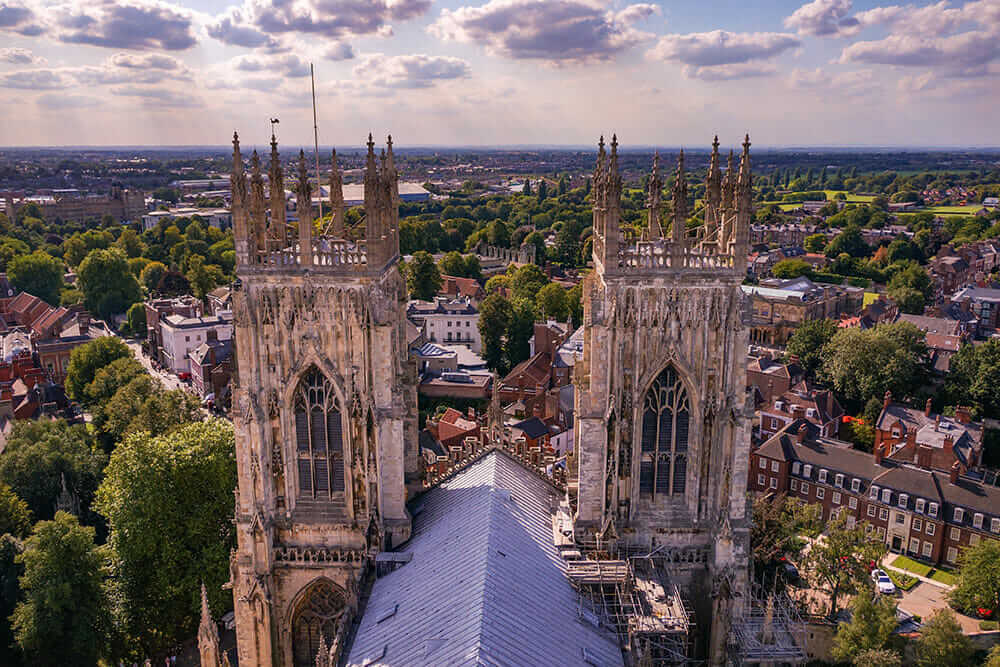 View of two towers of York Minster and the city of York from the Minster Central Tower