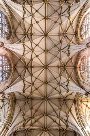 The intricate vaulted ceiling of York Minster