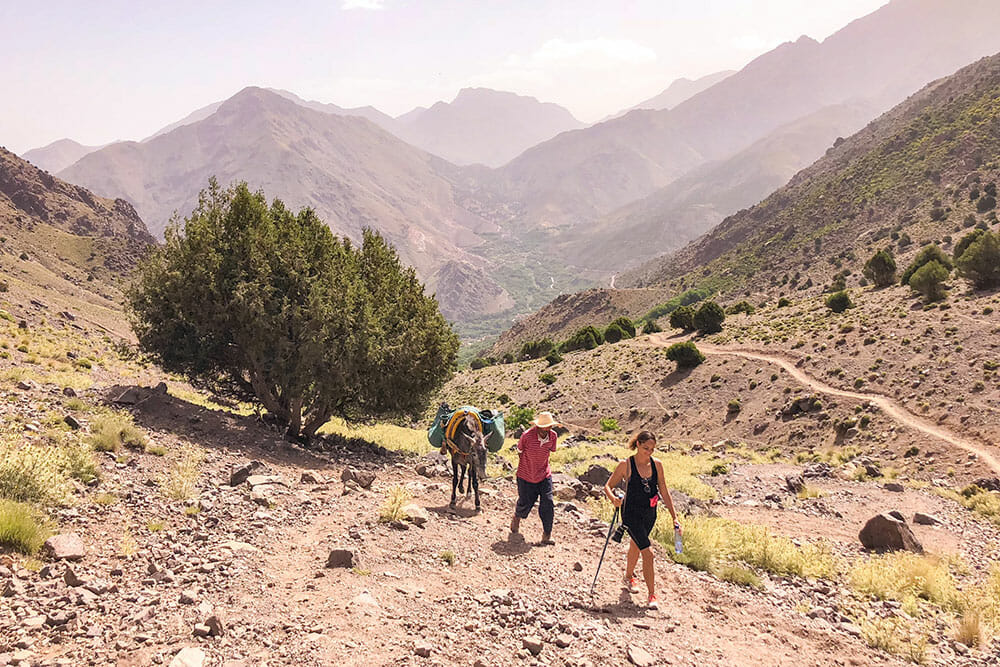 Trekking back to the Kasbah with the muleteer and the mule