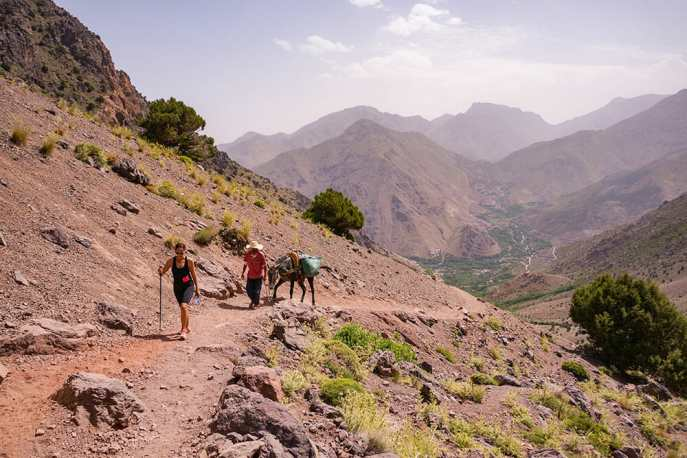 Trekking the Atlas Mountains with a man and a mule following