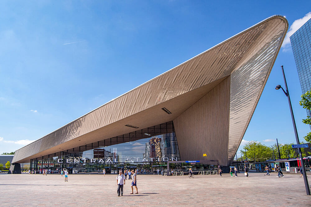 Striking angular architecture of the Centraal Station, arrival point for a day in Rotterdam