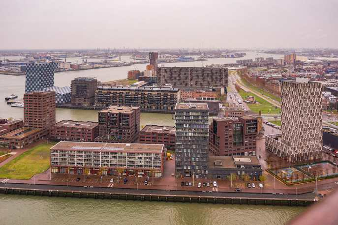 Modern buildings on the port with the sea in the background