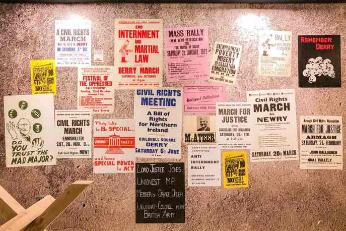 Collection of civil rights march posters on display the museum of free derry