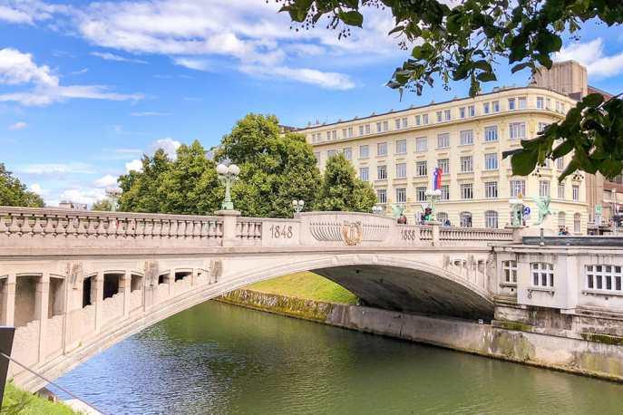 Art Nouveau bridge over the river