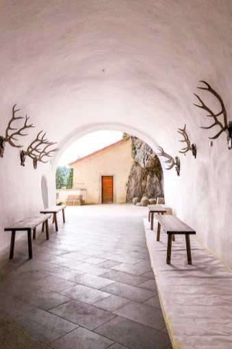 White tunnel with benches and deer horns on the wall