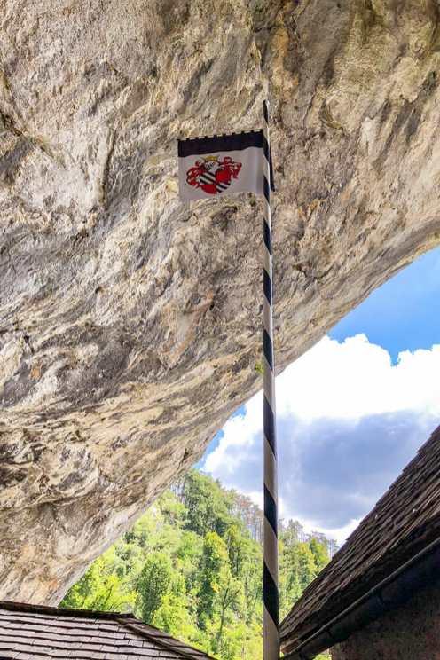 Medieval flag inside a cave
