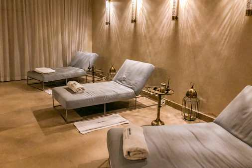 Day beds in a relaxation room with Moroccan lanterns