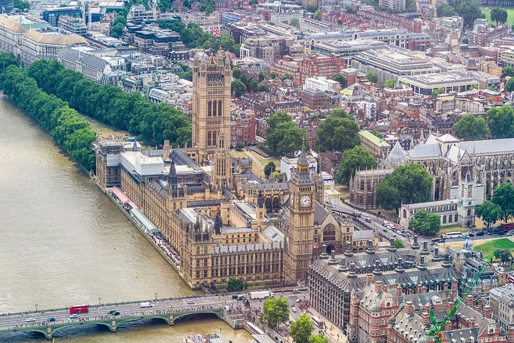 Aerial view of the the Houses of Parliament in London with the river and Westminster Bridge